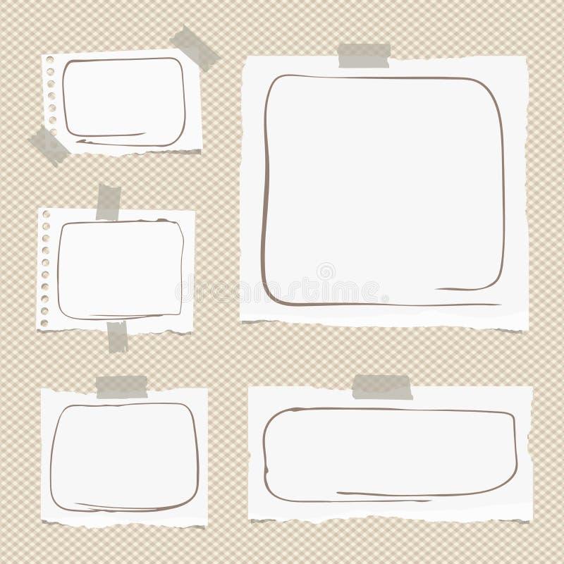 Rozdzierający biały notatnik, notatka, copybook papier ciąć na arkusze z doodle ramami, wtykać na brown ciosowym tle ilustracji