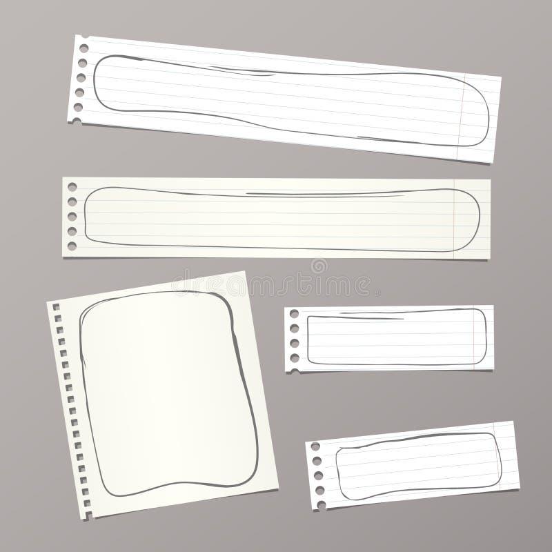 Rozdzierający biały notatnik, notatka, copybook papier ciąć na arkusze z doodle ramami, wtykać na tle royalty ilustracja