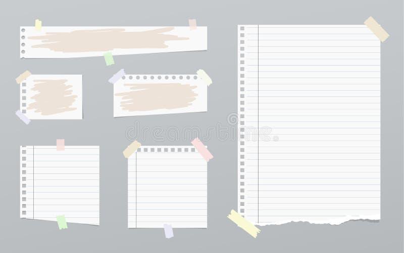 Rozdzierający biały notatnik, notatka, copybook papieru prześcieradła z malującymi szczotkarskimi uderzeniami ilustracja wektor