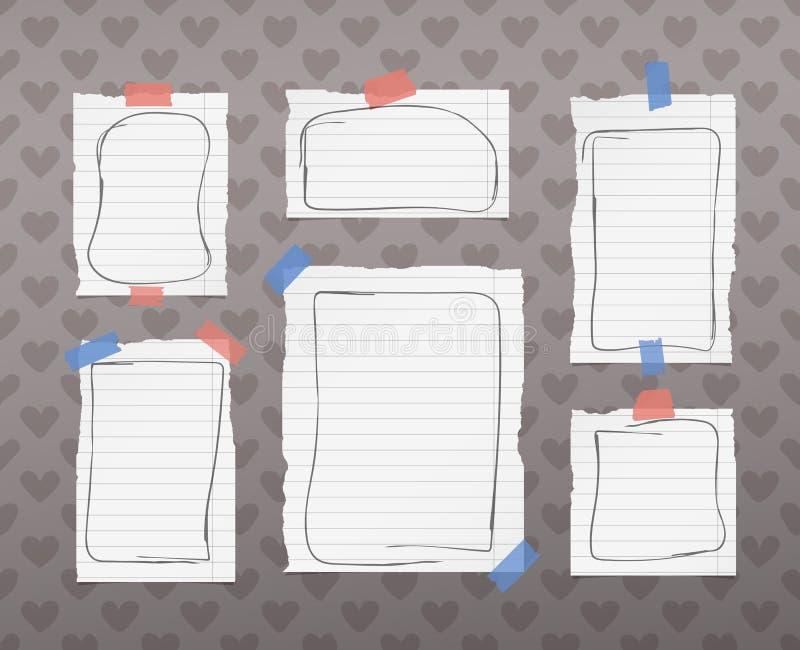 Rozdzierający biały rządzący notatnik, notatka, copybook papier ciąć na arkusze z doodle ramami, wtykać na wzorze tworzącym kiero ilustracji