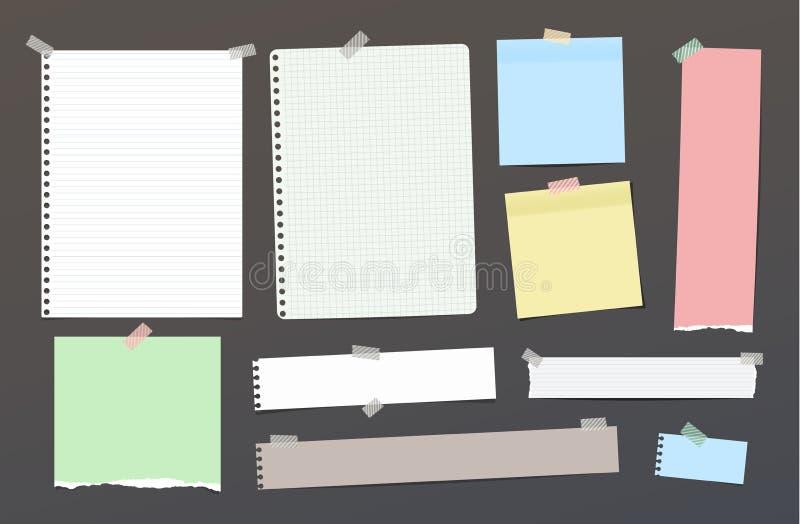 Rozdzierający puste miejsce rządził notatkę, notatnik, copybook papierowi paski, prześcieradła wtykający z kolorową kleistą taśmą royalty ilustracja