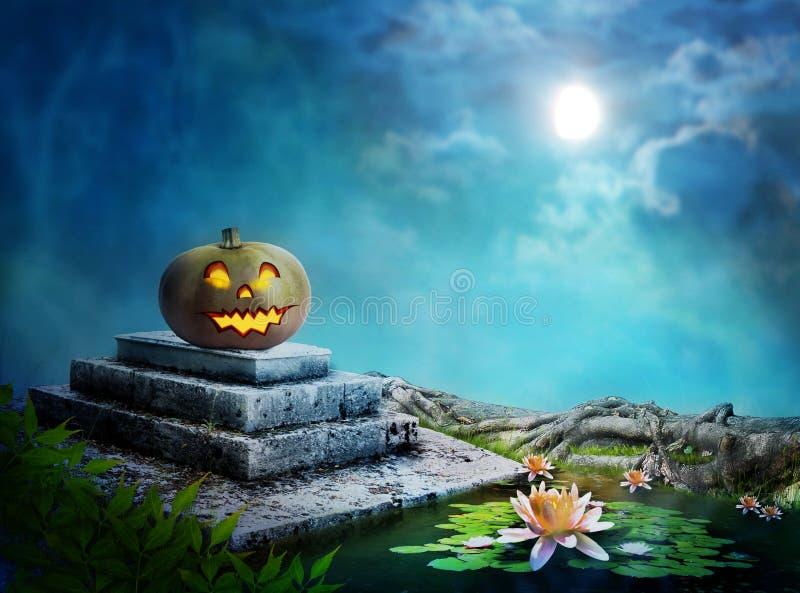 Roześmiana bania na Halloweenowej nocy na nagrobku ilustracja wektor