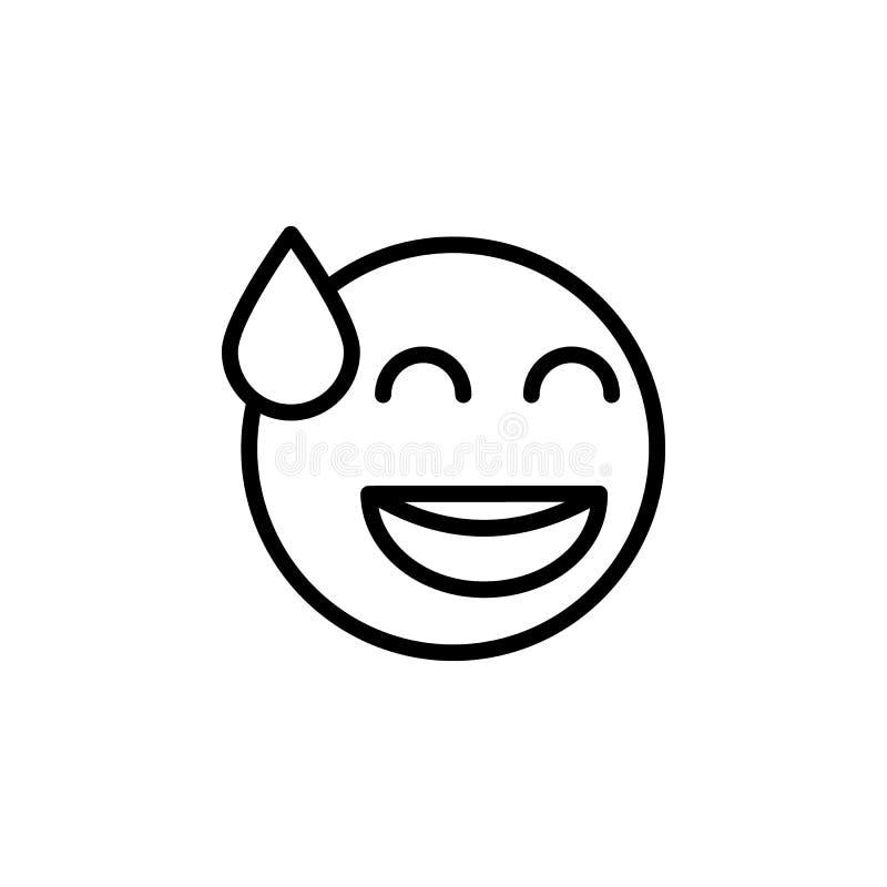 Roześmiana emoji konturu ikona Znaki i symbole mog? u?ywa? dla sieci, logo, mobilny app, UI, UX ilustracji