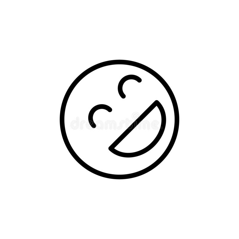 Roześmiana emoji konturu ikona Znaki i symbole mog? u?ywa? dla sieci, logo, mobilny app, UI, UX ilustracja wektor