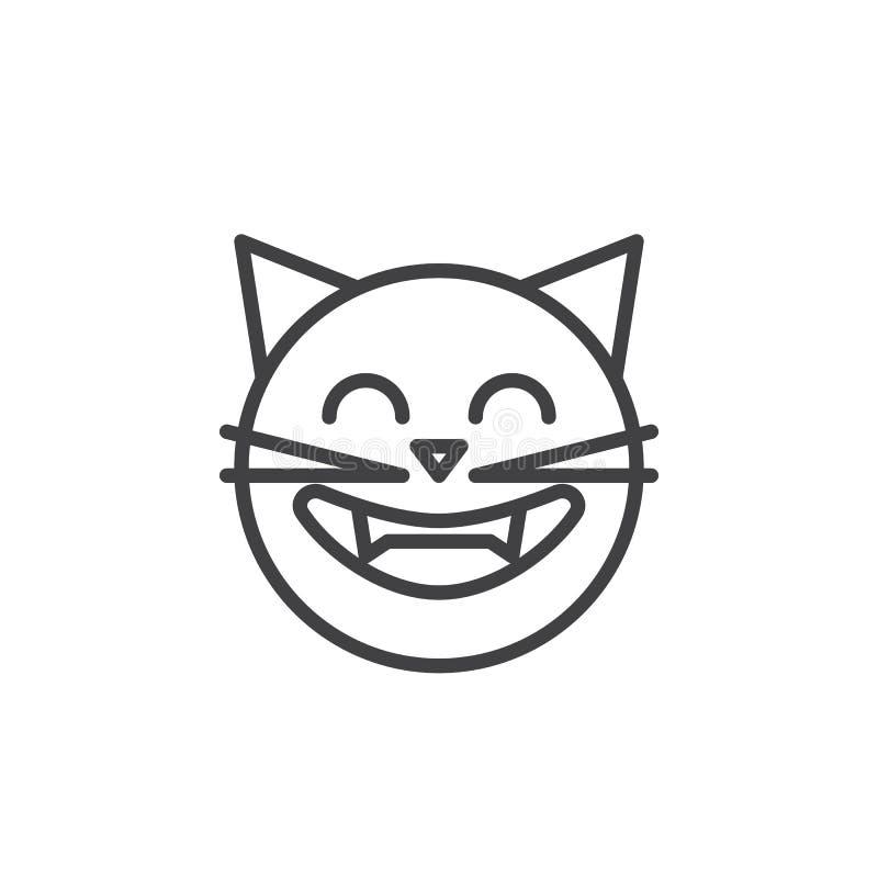 Roześmiana kot twarzy emoticon konturu ikona ilustracja wektor