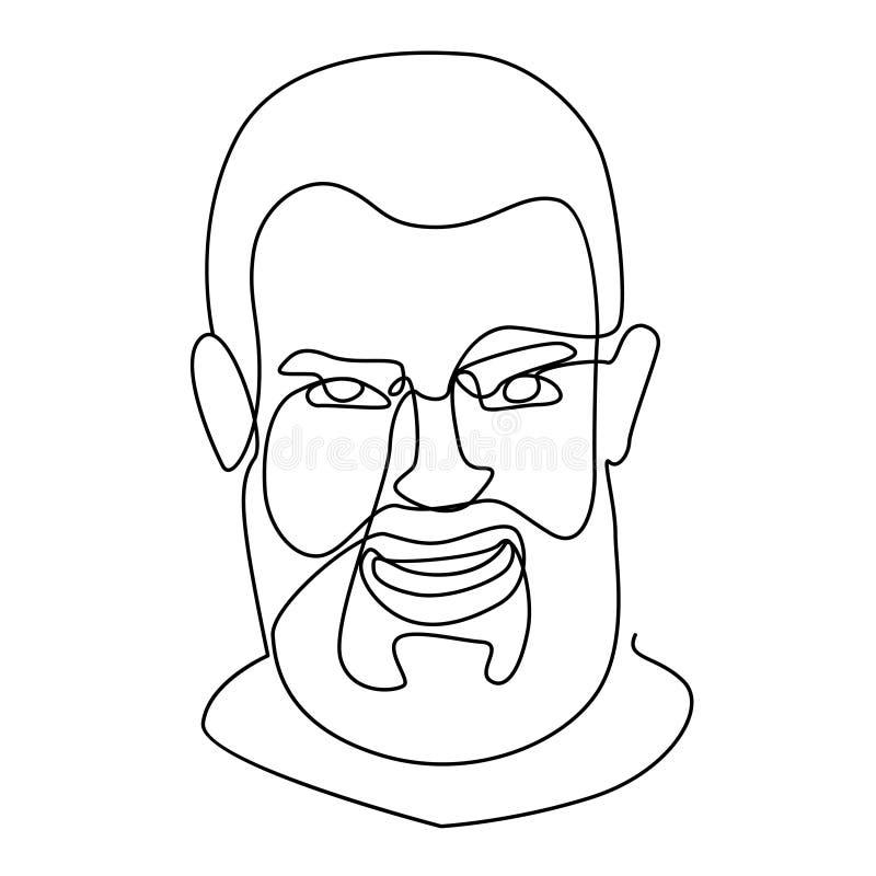 Roześmiany Brodaty Jeden mężczyzna portreta Kreskowa sztuka Uśmiechnięty Męski wyraz twarzy Ręka Rysująca Liniowa mężczyzna sylwe ilustracji