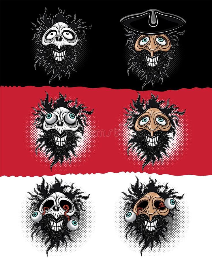 Roześmiany brodaty mężczyzna i straszna żywy trup czaszki ilustracja ilustracji