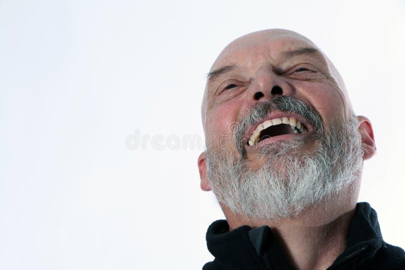 Roześmiany Starszy Dorosły mężczyzna z Pozytywną postawą zdjęcia royalty free