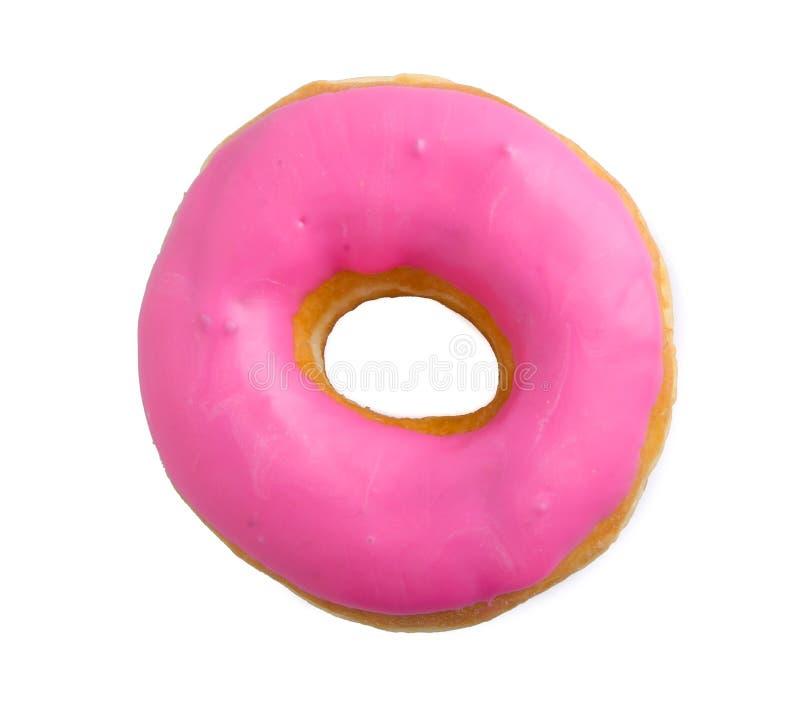 Roze aardbeidoughnut die op wit wordt geïsoleerd? stock afbeelding