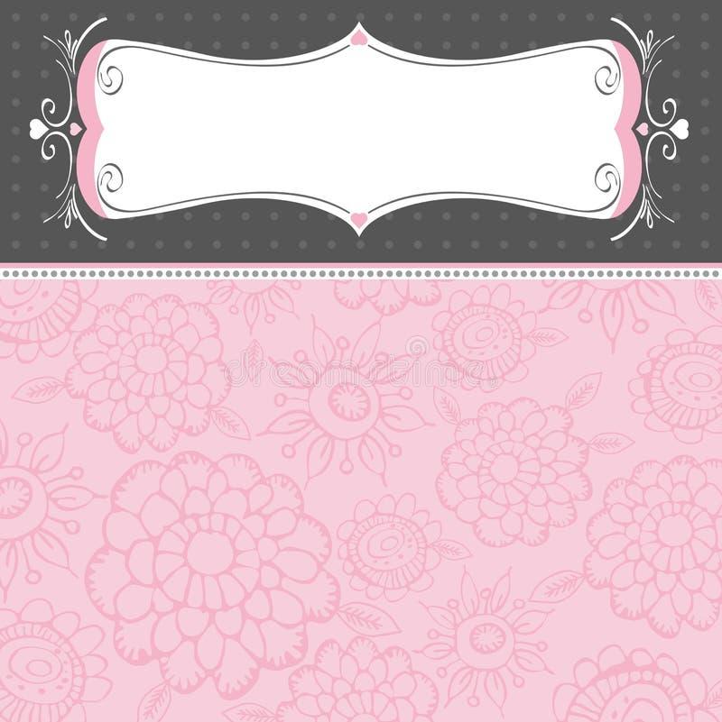 Roze achtergrond met bloemen royalty-vrije illustratie