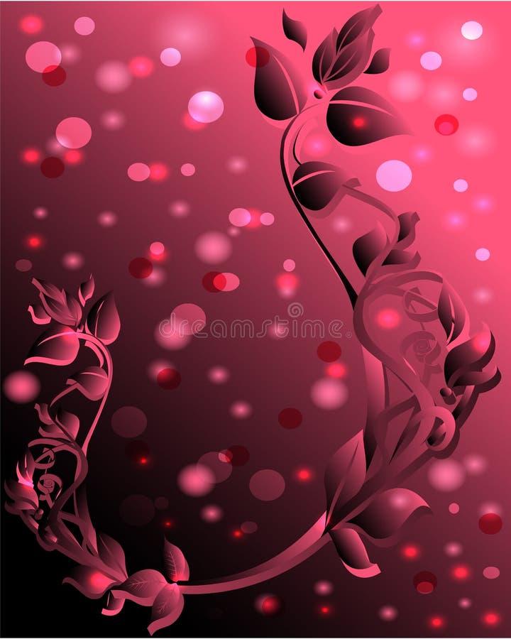 Roze achtergrond met bloemenornament stock illustratie