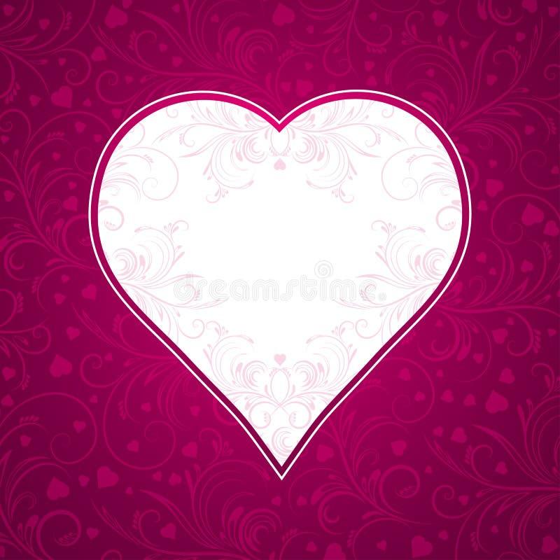Roze achtergrond met groot hart stock illustratie