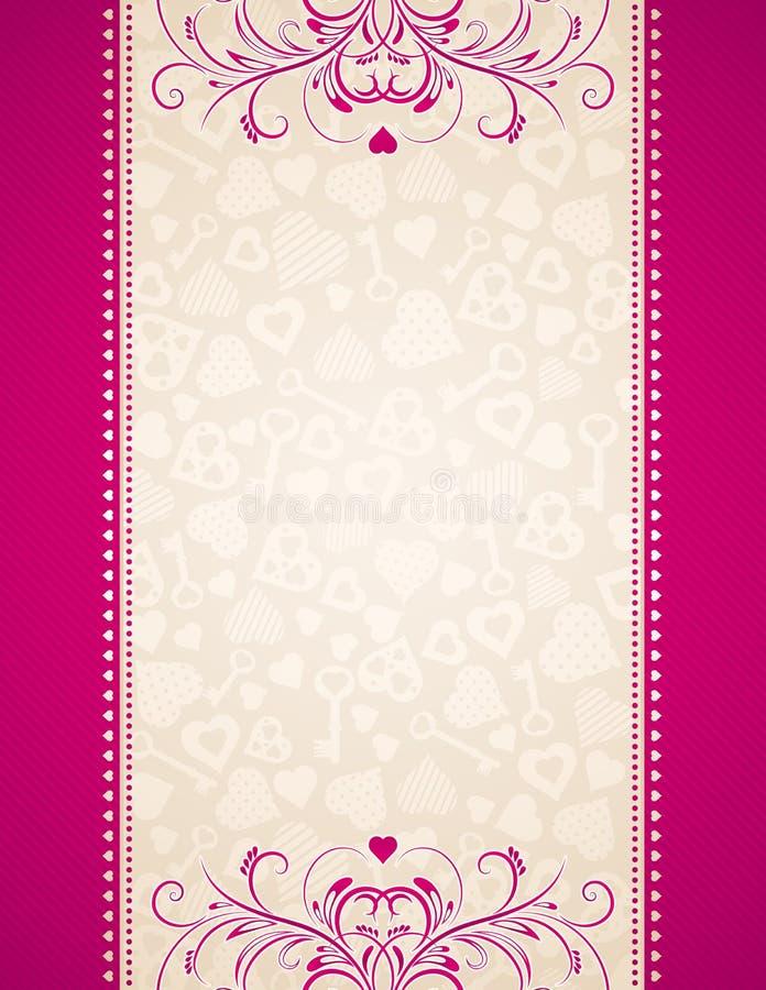 Roze achtergrond met harten vector illustratie