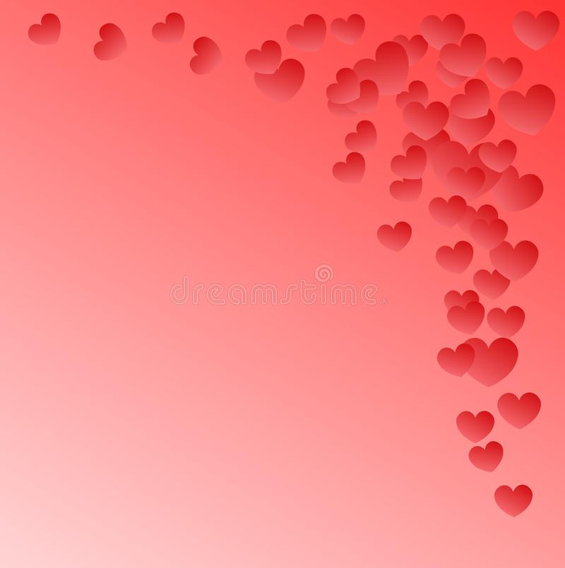 Roze achtergrond met kleine vliegende harten met plaats voor tekst stock illustratie