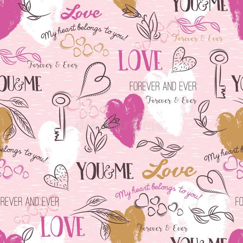 Roze achtergrond met valentijnskaarthart, bloem, tekst, vector royalty-vrije illustratie