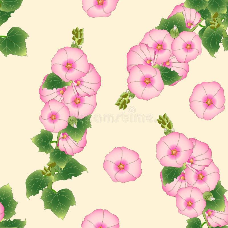 Roze Alcea Rosea - stokrozen, Aoi op Beige Ivoorachtergrond Vector illustratie royalty-vrije illustratie