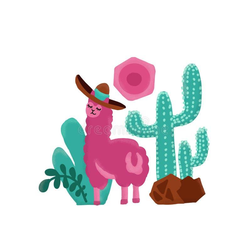 Roze alpaca kinderachtige hand getrokken illustratie Lama en alpacakaarten en ontwerp voor kinderdagverblijfontwerp, affiche, de  stock illustratie