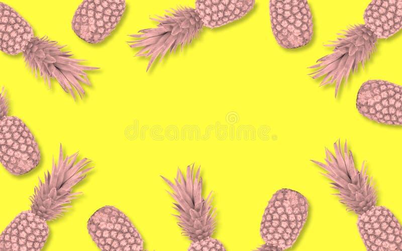 Roze ananaskader over een gele achtergrond royalty-vrije stock foto