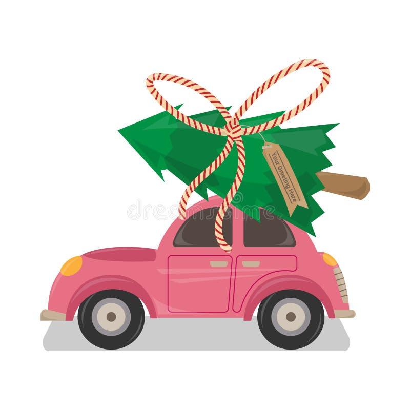 Roze Auto met Kerstboom op Bovenkant vector illustratie