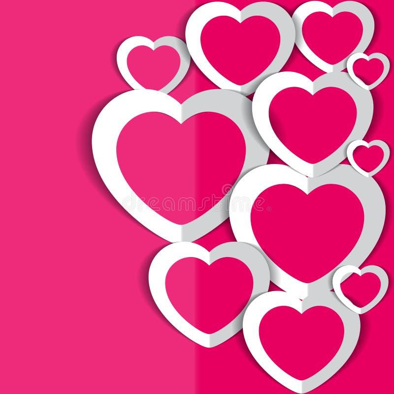 Roze backround met harten voor de Dag van Valentine ` s royalty-vrije stock foto