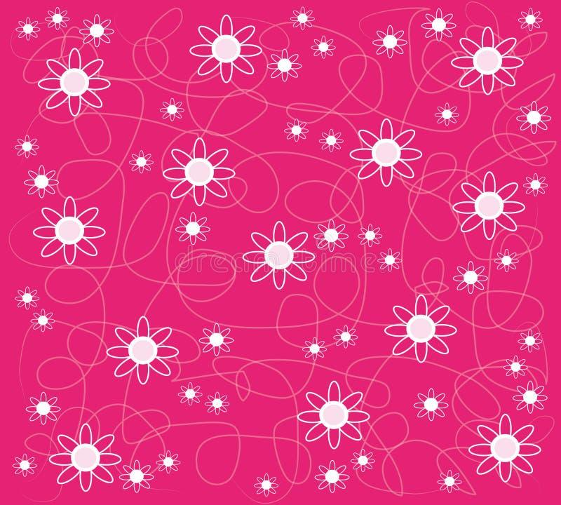Roze behang met bloemen vector illustratie