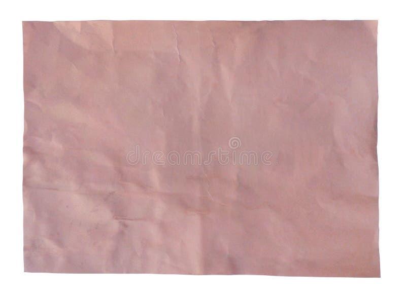 Roze blad van uitstekend oud document met weg, hoogste mening stock foto