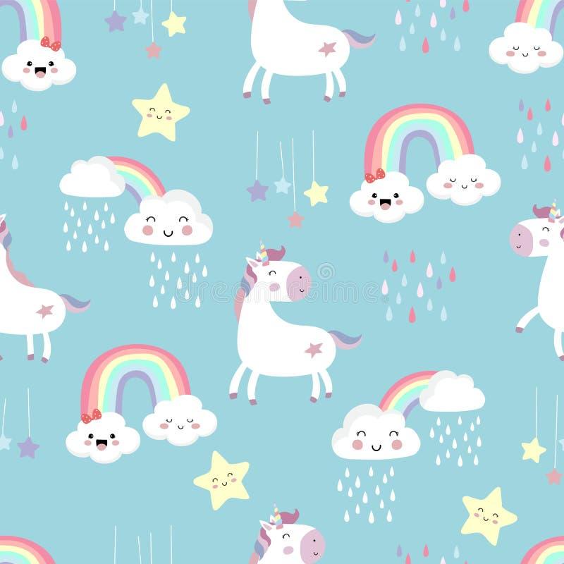 Roze blauw violet hand getrokken naadloos patroon met regenboog, hart, wolk, eenhoorn en regen vector illustratie