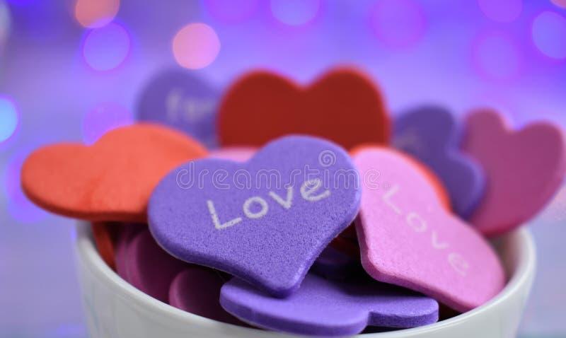 Roze blauwe de dagtederheid van de hartenvalentijnskaart royalty-vrije stock foto