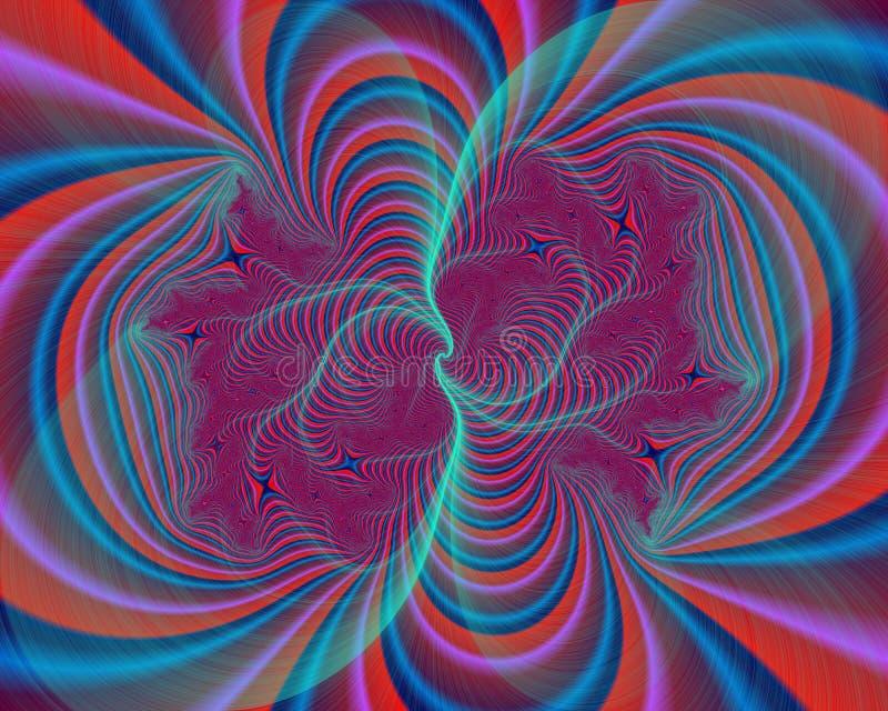 Roze blauwe purpere fosforescerende heldere decoratieve abstracte fractal, bloemontwerp, bladeren, achtergrond vector illustratie