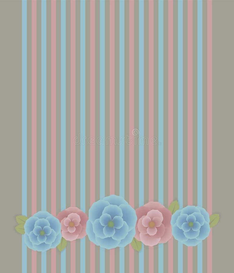 Roze-blauwe vector bloemensamenstelling met groene bladeren en schaduw horizontale objecten kaart op gestreepte gekleurde en grij royalty-vrije illustratie