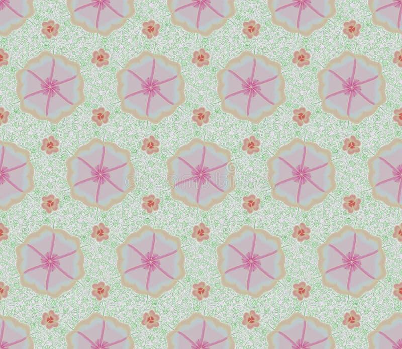 Roze bloem en klimop naadloze patronen royalty-vrije illustratie