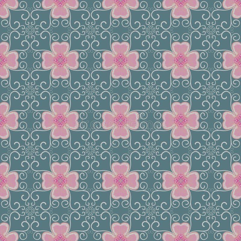 Roze bloem en klimop op groene naadloze patronen als achtergrond vector illustratie