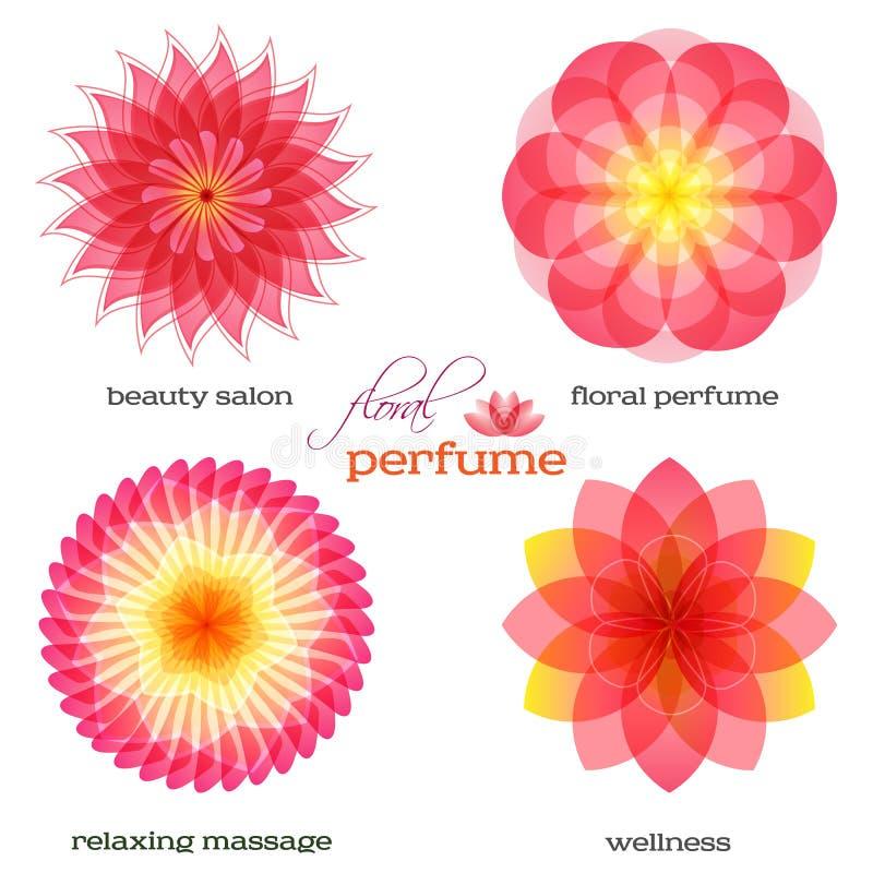 Roze-bloem-reeks-embleem-pictogram-bloemen-geur royalty-vrije illustratie