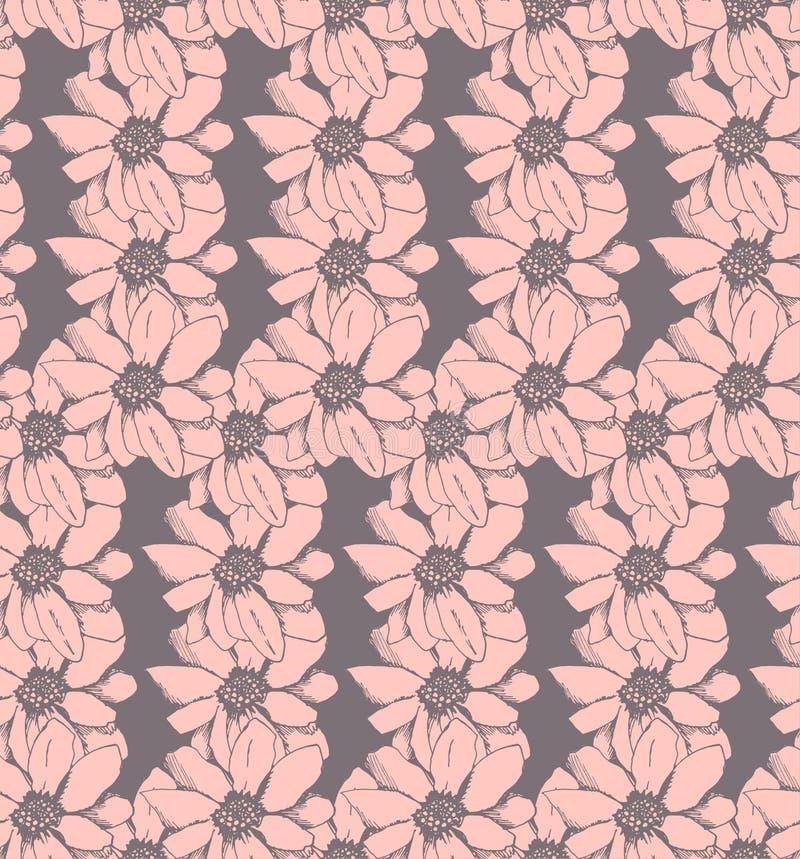 Roze bloem, vector naadloos patroon stock afbeelding