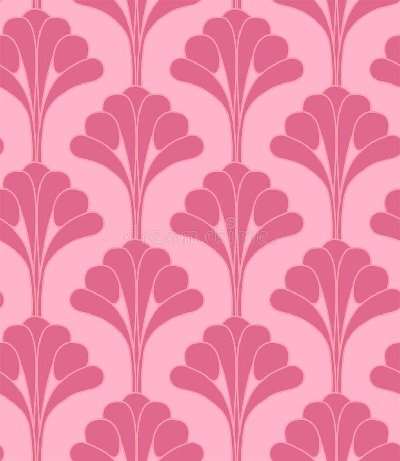 Roze Bloemen de Bloem Naadloos Patroon van Art Deco Gatsby Style Vintage stock illustratie