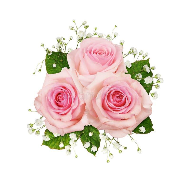 Roze roze bloemen en gipsgewricht in een florale regeling royalty-vrije stock afbeeldingen
