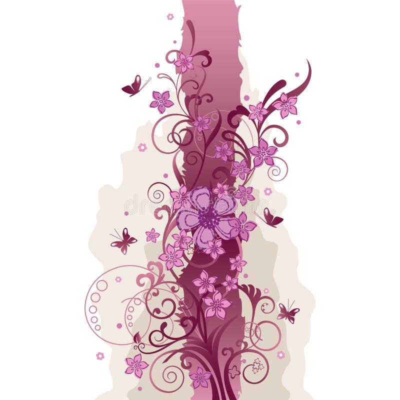 Roze bloemen en vlindersgrens vector illustratie