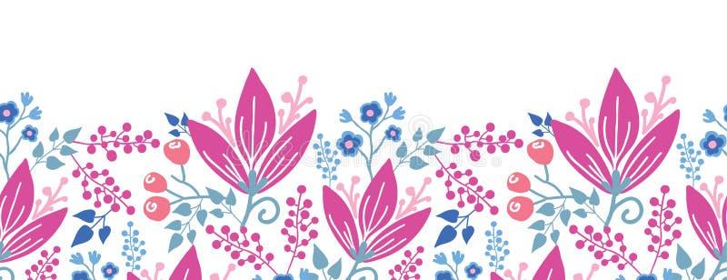 Roze bloemen horizontaal naadloos patroon stock illustratie