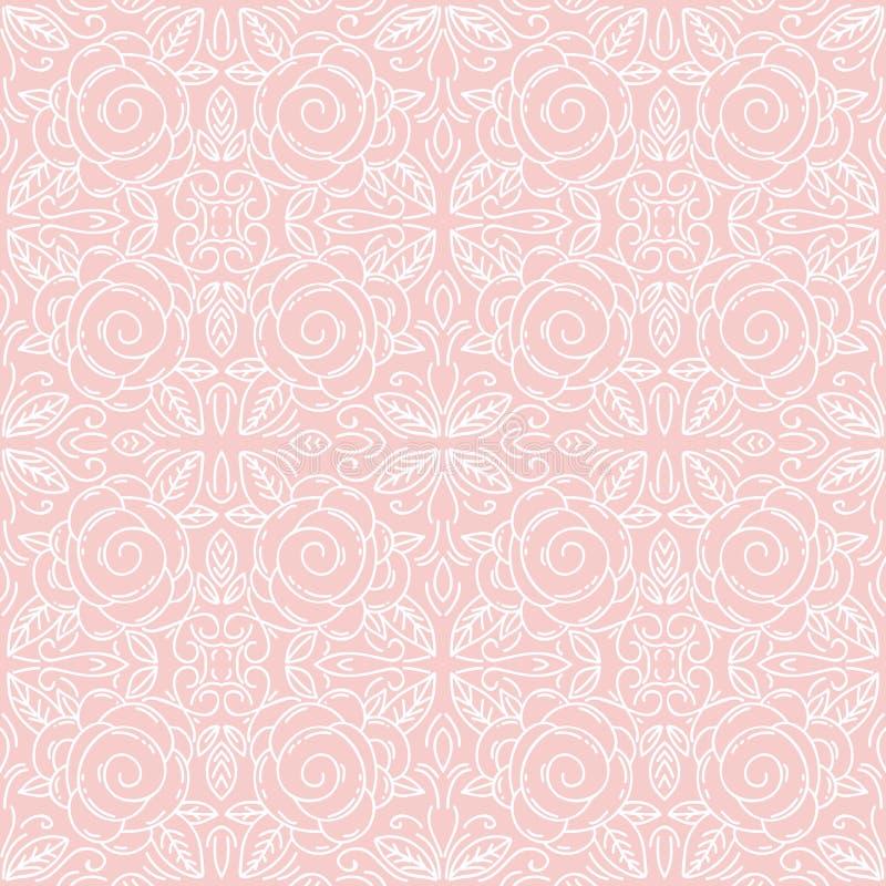 Roze bloemen naadloos patronenideaal voor druk op stof stock illustratie