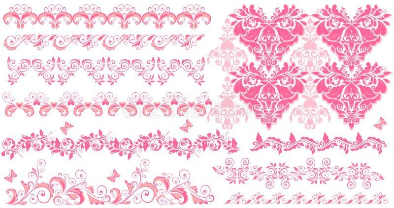Roze bloemen naadloze grenzen stock illustratie