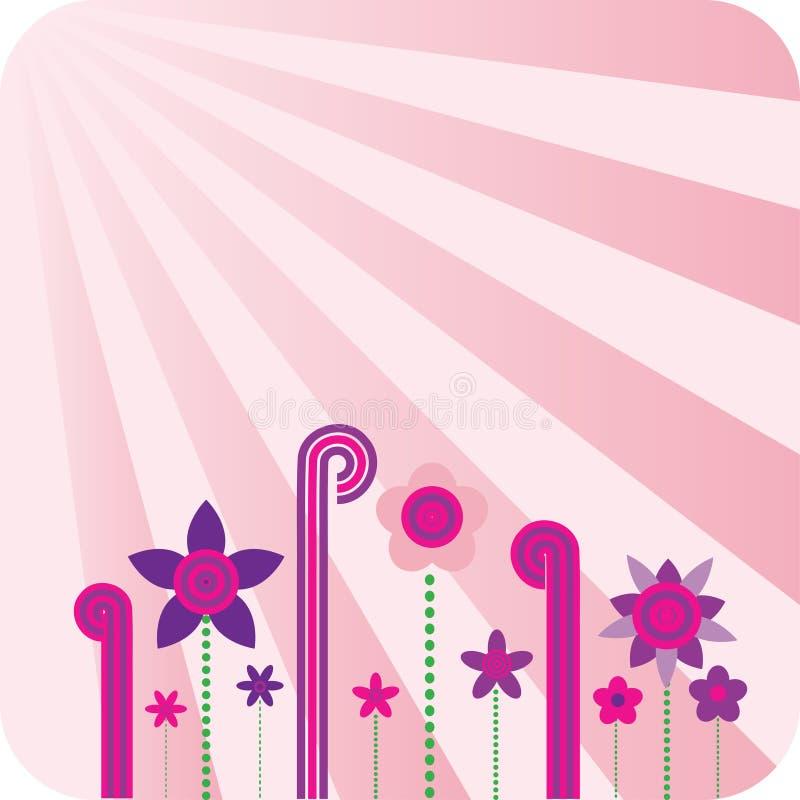 Roze bloemen retro behang stock illustratie