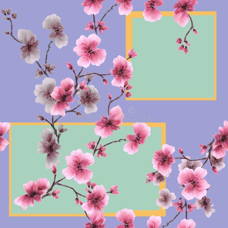 Roze bloemen van het waterverf de naadloze patroon met geometrische cijfers aangaande een violette achtergrond royalty-vrije illustratie