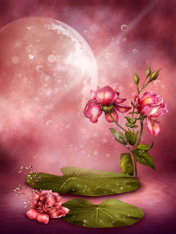 Roze bloemenachtergrond 1 royalty-vrije illustratie