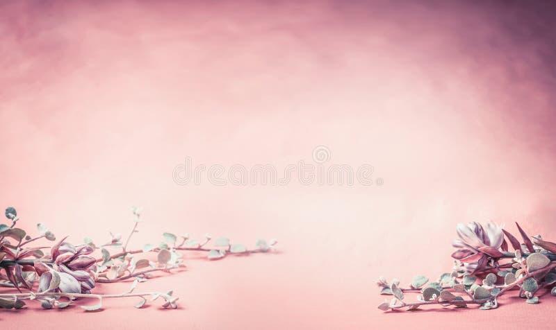 Roze bloemenachtergrond met bloemen en bladeren, banner of grens voor huwelijk, kuuroord of schoonheidsconcept stock foto