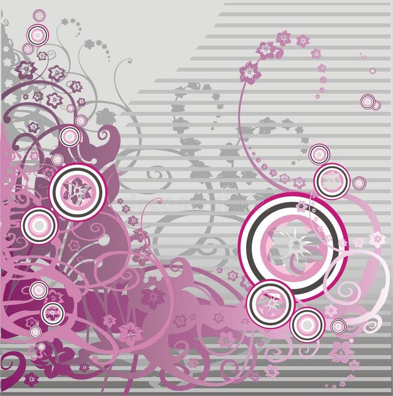 Roze bloemenachtergrond met krul vector illustratie