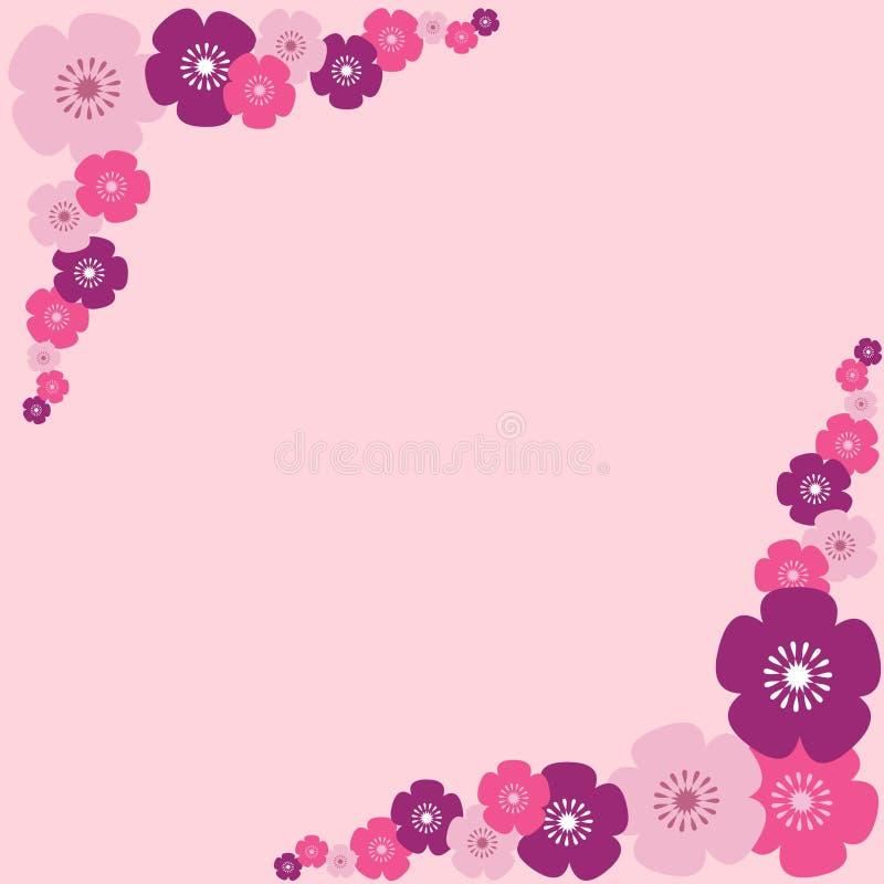 Roze bloemengrens stock illustratie