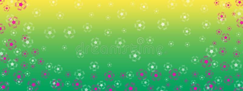 Roze Bloemengrens op de Groene en Gele Achtergrond van de Gradiëntbanner stock afbeelding