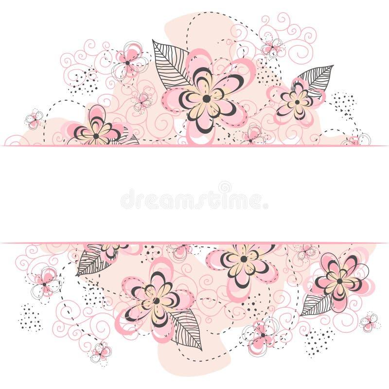 Roze Bloemengrenzenachtergrond stock illustratie
