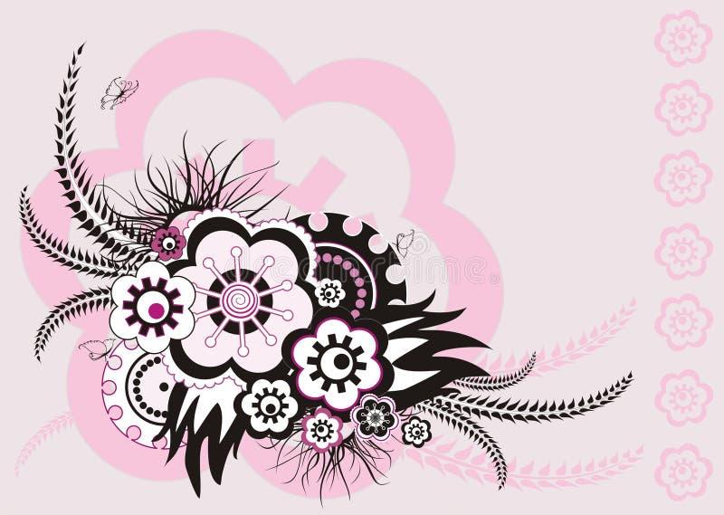 Roze bloemenornament, vectorillustratie royalty-vrije illustratie