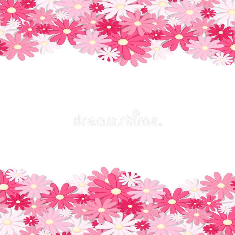 Roze bloemgrens Elegant Uitstekend kaartontwerp Bloemenbehang, horizontaal naadloos patroon Vector illustratie vector illustratie